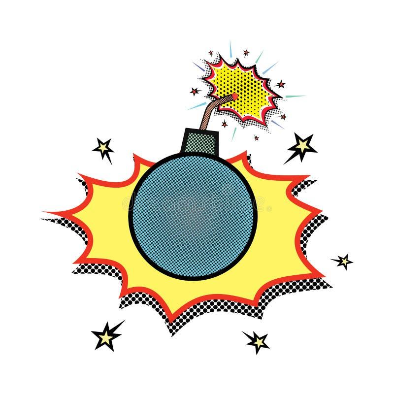 Una bomba con uno stoppino bruciante e due fuochi, che si accinge a esplode bomba bruciante o il centro nello stile comico illustrazione vettoriale