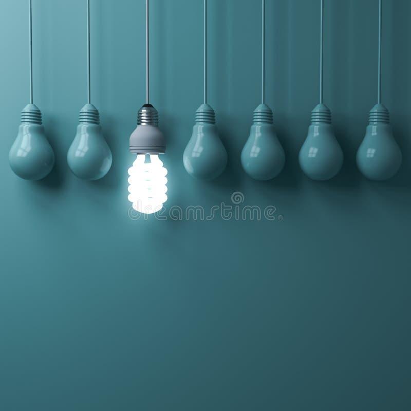 Una bombilla ahorro de energía colgante del eco que brilla intensamente y que se coloca hacia fuera de bulbos incandescentes unli ilustración del vector
