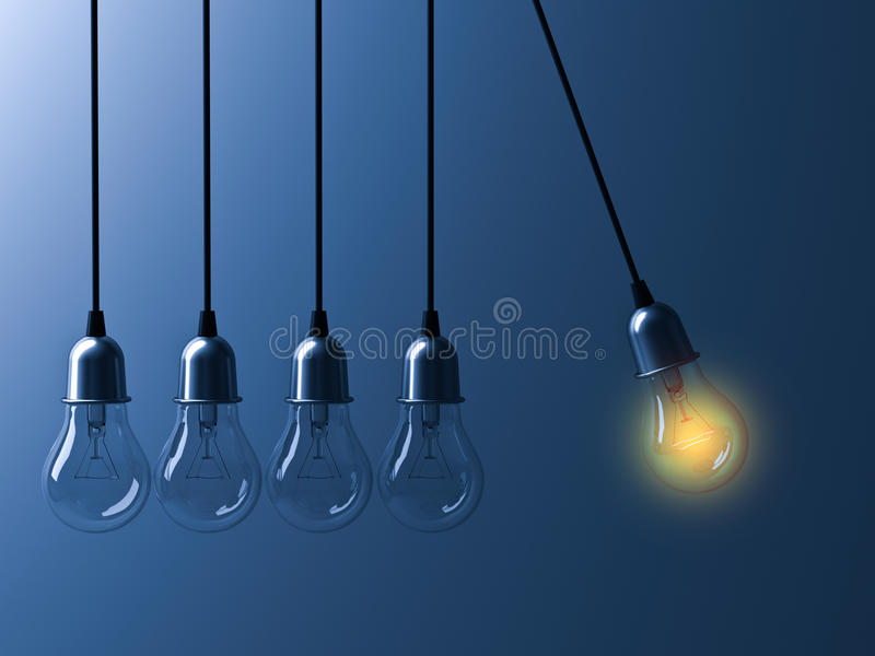 Una bombilla colgante que brilla intensamente diferente y se destaca de bulbos incandescentes unlit como cuna de los neutonios en stock de ilustración
