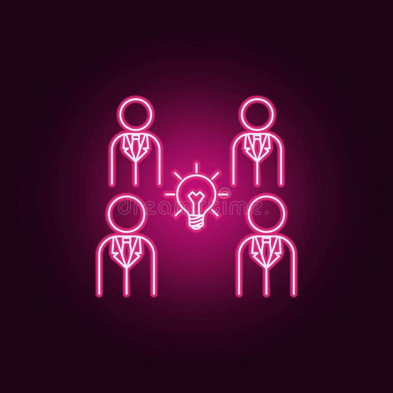 una bombilla en el centro del icono de neón de la gente Elementos del sistema de la idea Icono simple para las p?ginas web, dise? stock de ilustración