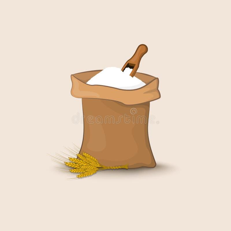 Una borsa di farina con una pala e le orecchie di grano, di orzo o di segale illustrazione vettoriale