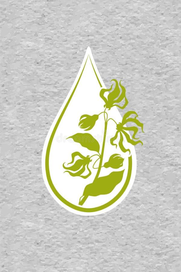 Una botella con el aceite esencial del icono plano del ylang-ylang Un descenso del logotipo del aceite esencial de la flor del yl libre illustration