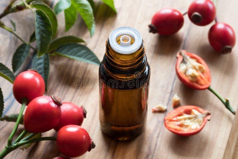 Una botella de aceite de semilla del escaramujo en una tabla de madera imagen de archivo