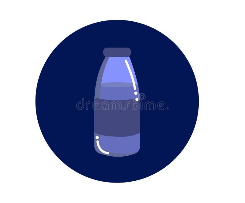Una botella de agua en un fondo azul ilustración del vector