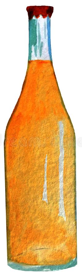 Una botella de cerveza ejemplo de la acuarela para el diseño de carteles, tarjetas stock de ilustración