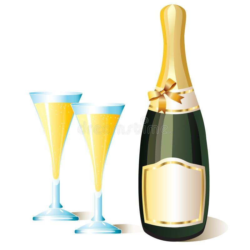 Una botella de champán y de vidrios. ilustración del vector