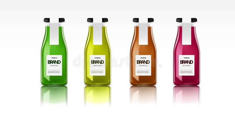 Una botella de cristal realista de jugo fresco stock de ilustración
