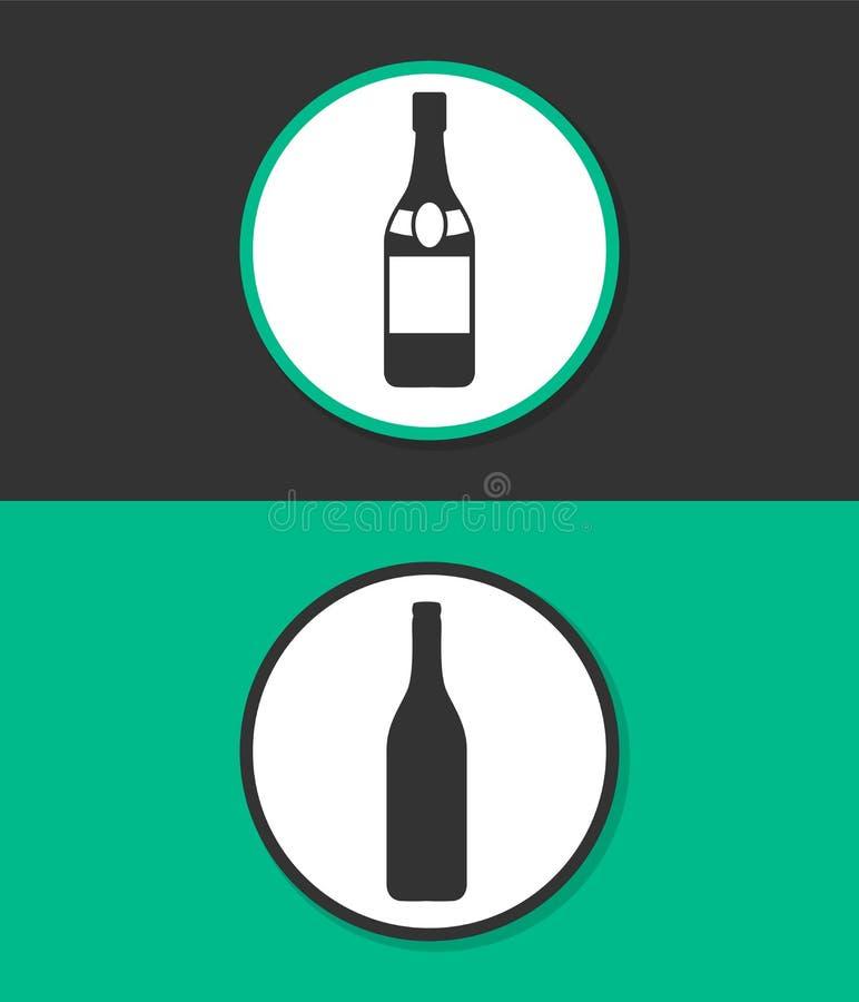 Una botella de icono del vector del champán imagen de archivo libre de regalías