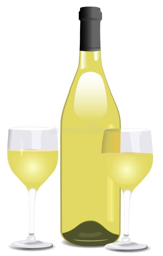 Una botella de vino blanco y de dos vidrios libre illustration