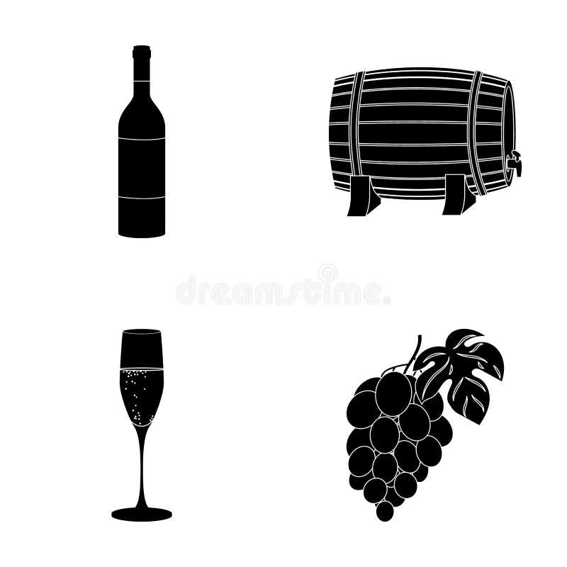 Una botella de vino rojo, un barril de vino, un vidrio de champán, un manojo Iconos de la colección del sistema de producción de  ilustración del vector