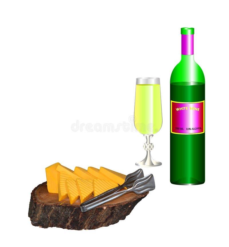Una botella y un vidrio de vino blanco con los pedazos de queso en una bandeja de troncos de árbol valiosos ilustración del vector