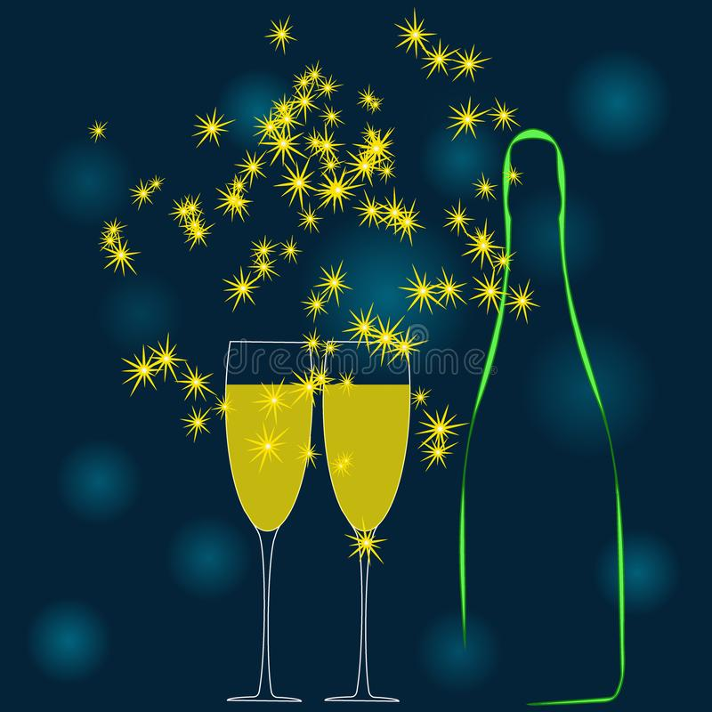 Una bottiglia del champagne e due bicchieri di vino Vettore royalty illustrazione gratis