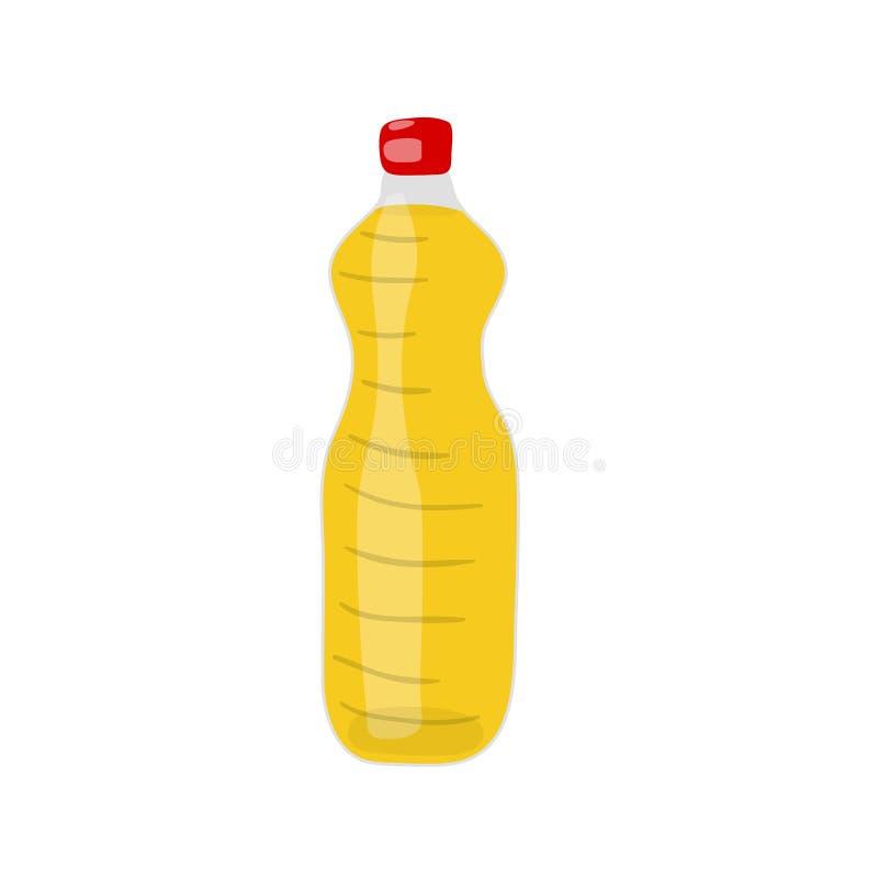 Una bottiglia del ico idrogenato di vettore dell'olio della verdura, del canola o della soia royalty illustrazione gratis