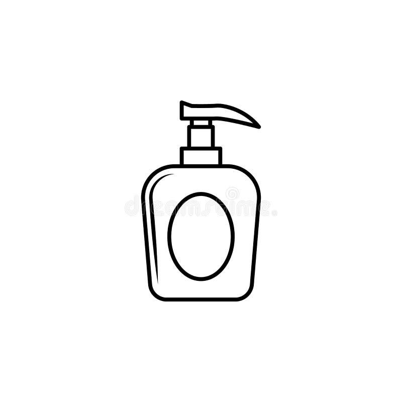 una bottiglia dell'icona del sapone liquido Elemento della bottiglia per i apps mobili di web e di concetto Linea sottile icona p illustrazione vettoriale