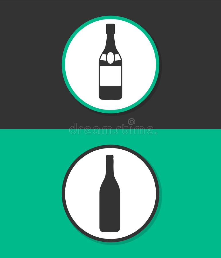 Una bottiglia dell'icona di vettore del champagne immagine stock libera da diritti