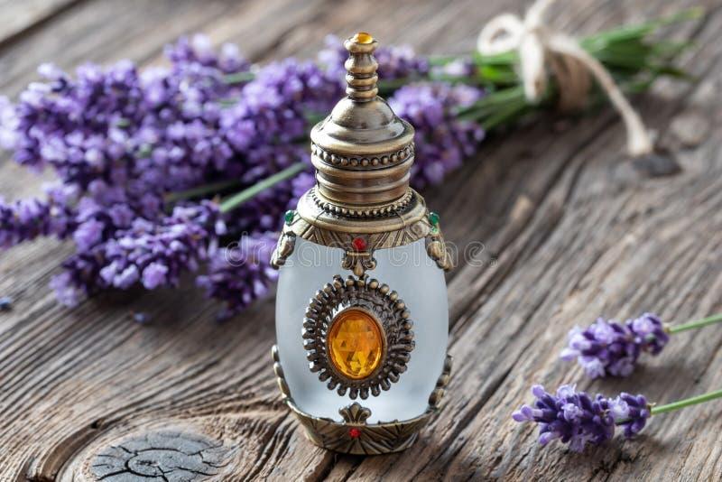 Una bottiglia dell'olio essenziale della lavanda con lavanda fresca immagini stock