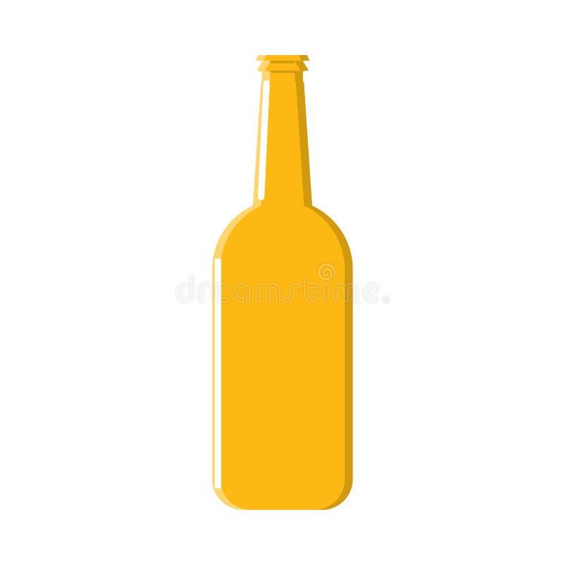 Una bottiglia della luce dell'orzo ha raffreddato l'icona alcolica della birra del mestiere della lager del luppolo giallo ambra- royalty illustrazione gratis