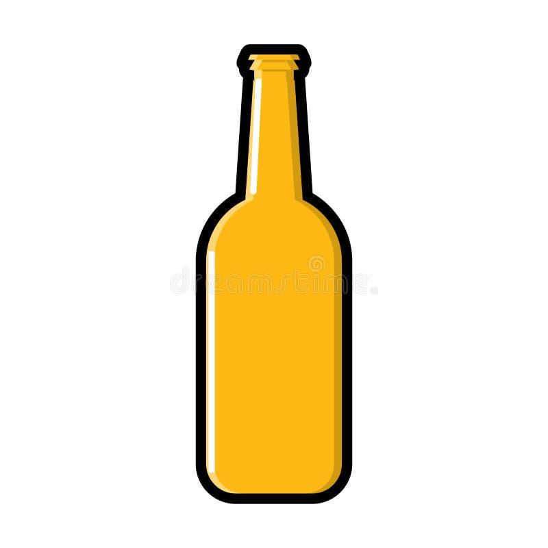 Una bottiglia della luce dell'orzo ha raffreddato l'icona alcolica della birra del mestiere della lager del luppolo giallo ambra- illustrazione vettoriale