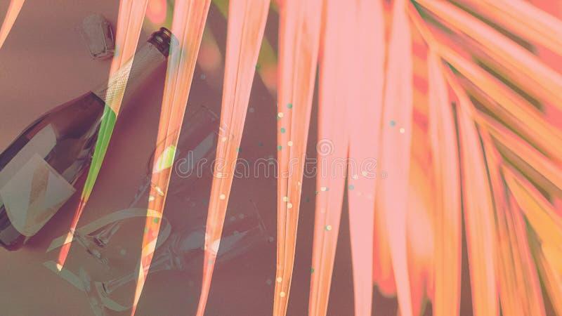 Una bottiglia di champagne e di vetri sui precedenti dei fiori di corallo d'avanguardia delle piante tropicali Esposizione multip fotografie stock libere da diritti