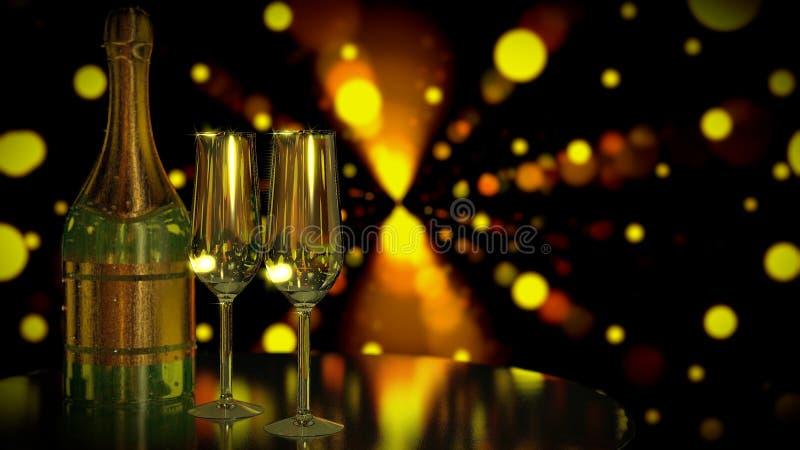 Una bottiglia di Champagne o vino con due vetri Scena romantica di notte Data per due royalty illustrazione gratis