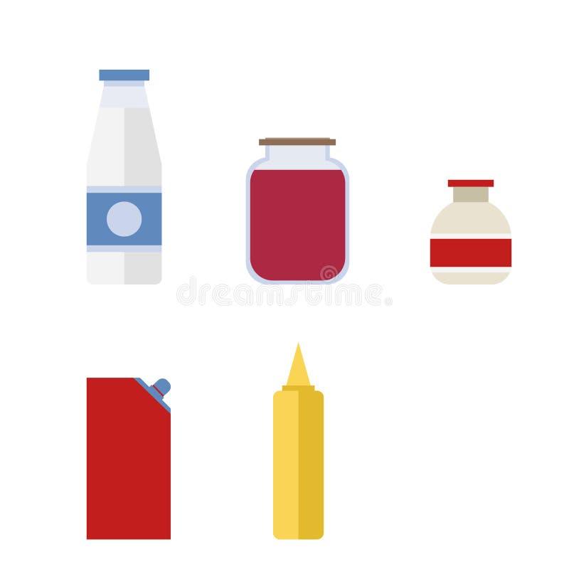 Una bottiglia di latte, inceppamento, ketchup, maionese illustrazione vettoriale