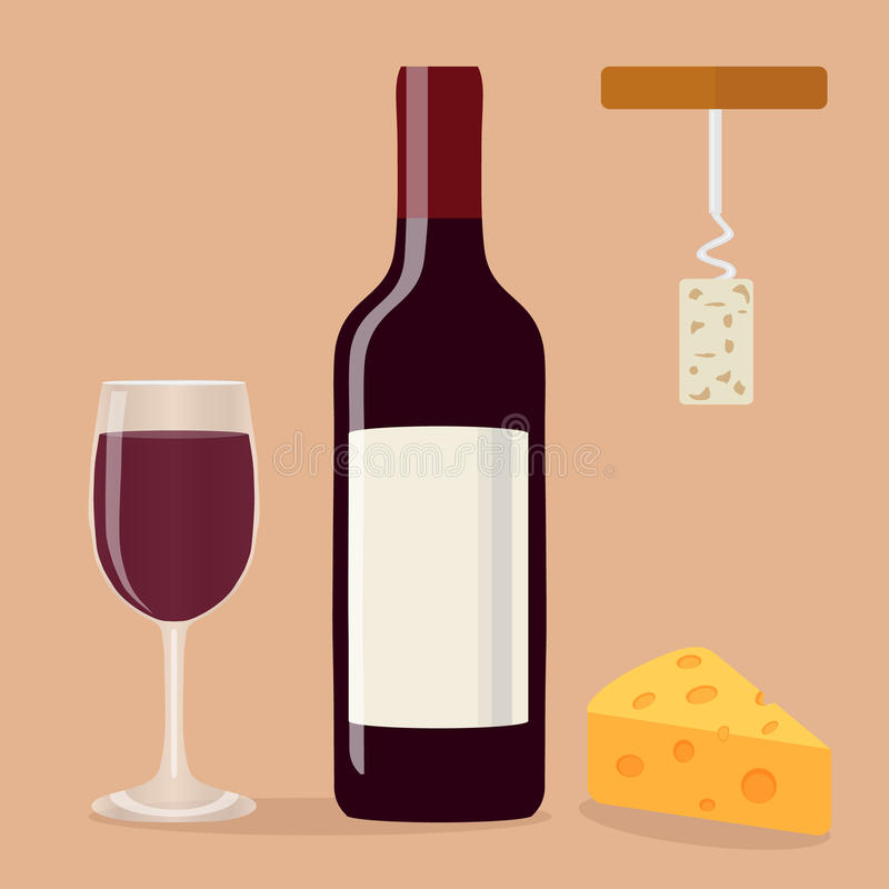 Una bottiglia di vino, di un bicchiere di vino, di una cavaturaccioli e di un formaggio illustrazione vettoriale