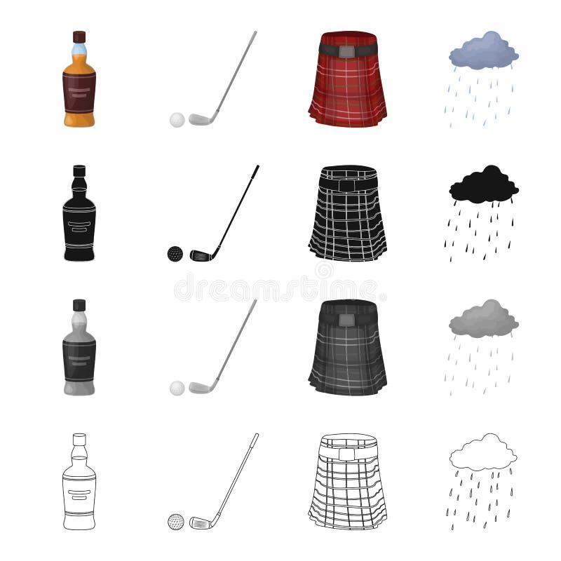 Una bottiglia di whiskey scozzese, della palla e del putter per golf, una gonna scozzese, il tempo in Scozia Insieme della Scozia royalty illustrazione gratis