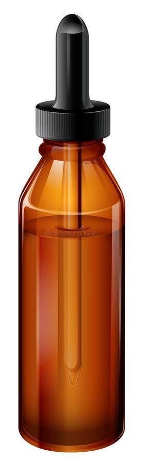 Una bottiglia medica marrone chiaro con un contagoccia illustrazione vettoriale