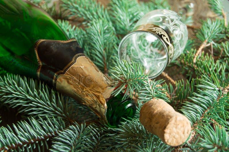 Una bottiglia vuota di champagne, di un sughero e di un vetro di vino che si trovano sui rami attillati, fuoco appresso alla bott immagini stock
