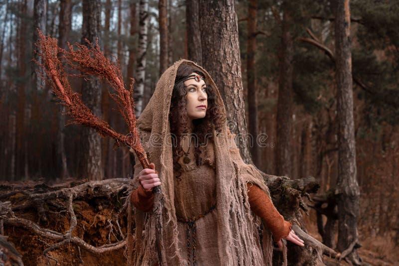 Una bruja en trapos conjura en bosque fotos de archivo libres de regalías