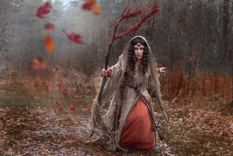 Una bruja en trapos conjura en bosque fotografía de archivo