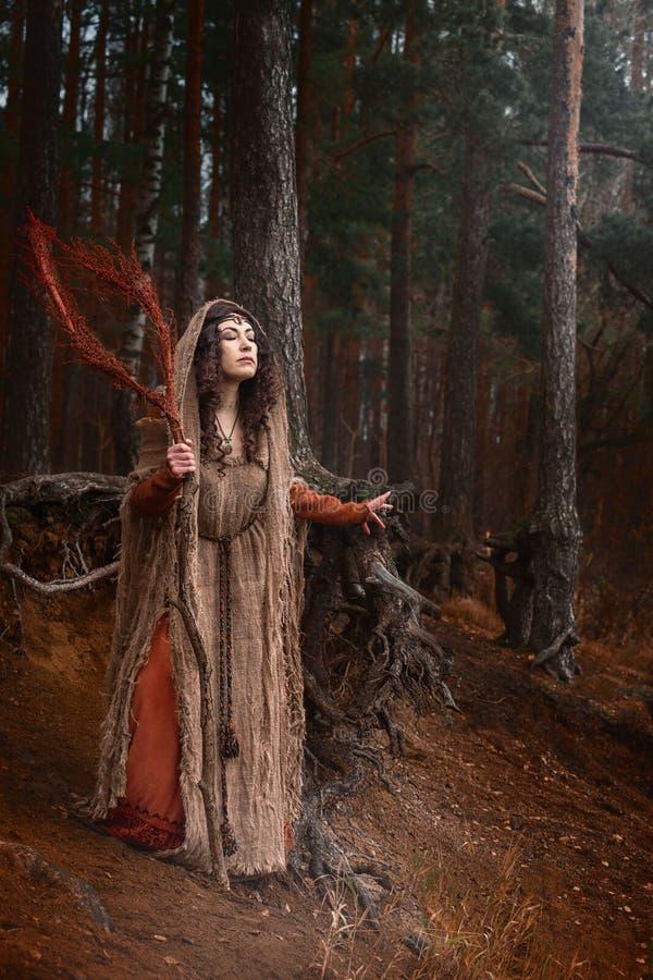 Una bruja en trapos conjura en bosque fotos de archivo