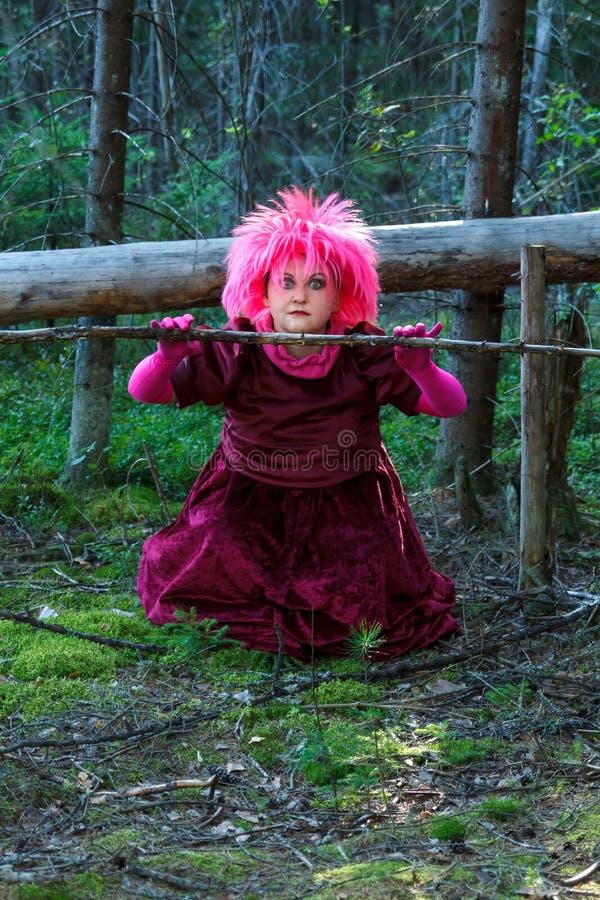 Una bruja joven en ropa p?rpura en el bosque conjura una rama seca de un ?rbol fotos de archivo libres de regalías
