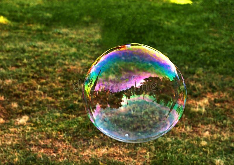 Una burbuja de jab?n vuela contra la perspectiva de hierba verde foto de archivo libre de regalías