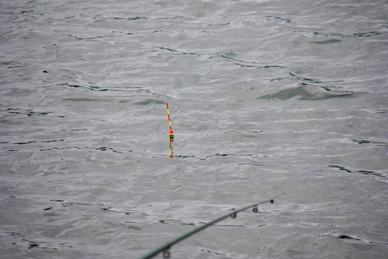 Una caña de pescar, una caña de pescar con un corcho o un flotador en una línea en un lago Primer Una caña de pescar está desenfo imagenes de archivo