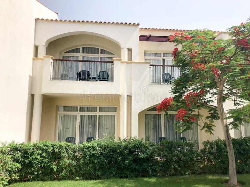 Una cabaña moderna blanca, un chalet, una casa, un edificio con ventanas y un balcón y un árbol verde con las flores rojas, delon fotos de archivo libres de regalías