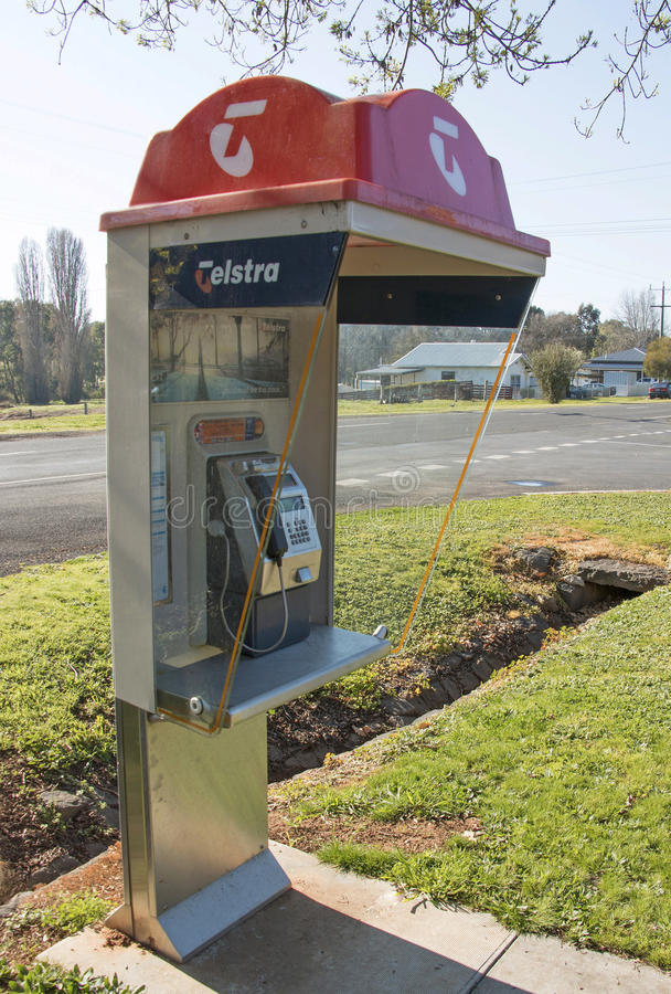 Una cabina telefonica di Telstra - le più grandi telecomunicazioni dell'Australia e società di media fotografia stock