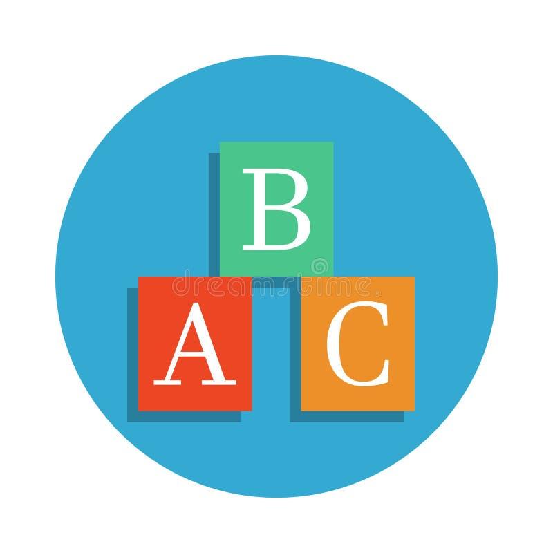 una caja de b c coloreada en icono azul de la insignia Elemento del icono de la escuela para los apps móviles del concepto y del  ilustración del vector