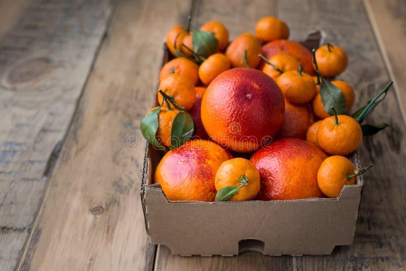 Una caja de cartón del invierno fresco da fruto con las naranjas rojas y las mini mandarinas fotografía de archivo