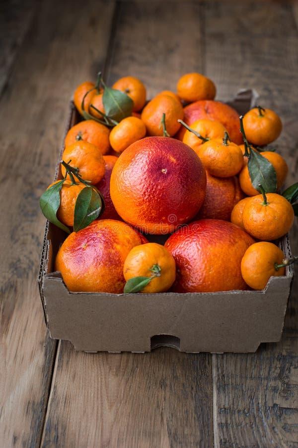 Una caja de cartón del invierno fresco da fruto con las naranjas rojas y las mini mandarinas imagenes de archivo