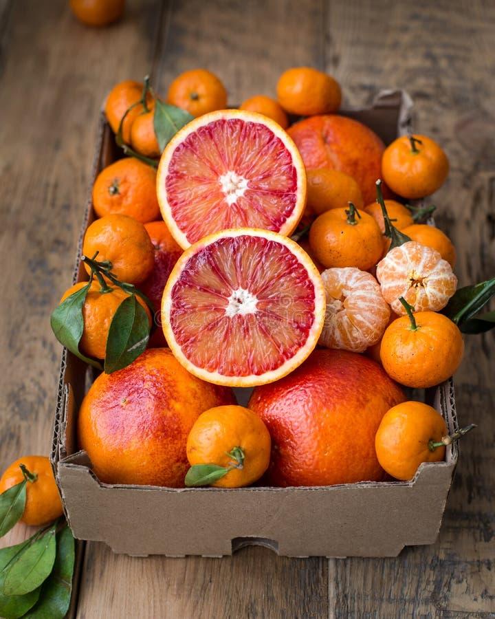 Una caja de cartón del invierno fresco da fruto con las naranjas rojas y las mini mandarinas foto de archivo libre de regalías