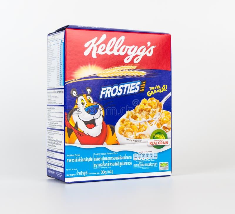 Una caja de cereal de desayuno dulce de Frosties aislado en blanco foto de archivo libre de regalías