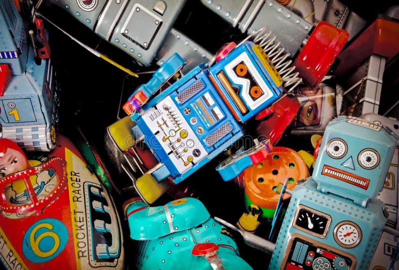 Una caja de juguetes retros fotografía de archivo