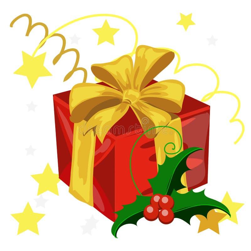 Una caja de regalo envuelta en papel rojo y atada con color de oro de la cinta con un arco aislado en el fondo blanco Muestra de libre illustration