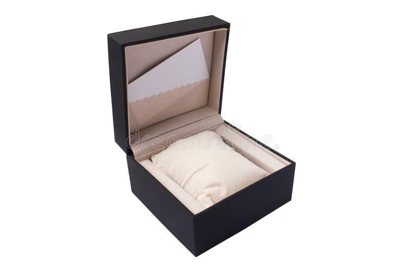 Una caja de reloj negra vacía Una tarjeta pura para la presentación de la marca Fondo blanco foto de archivo