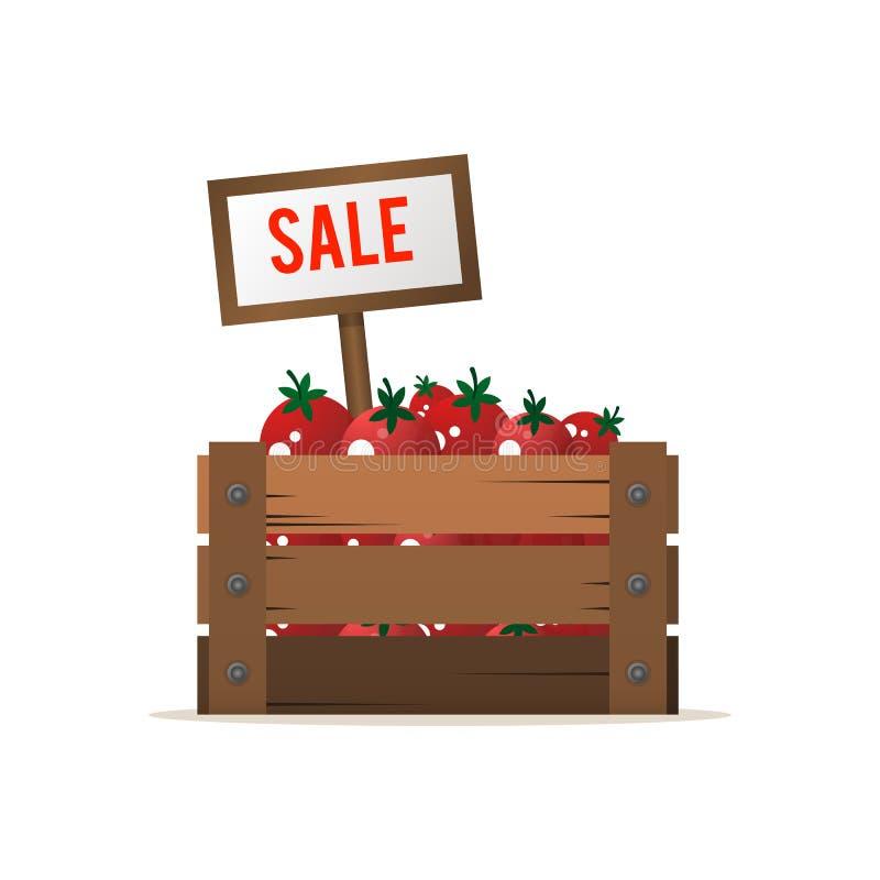 Una caja de tomates Venta de vehículos Comercio de alimentos de la calle Vector ilustración del vector