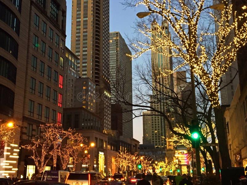 Una calle de Chicago en el tiempo de la Navidad fotografía de archivo libre de regalías
