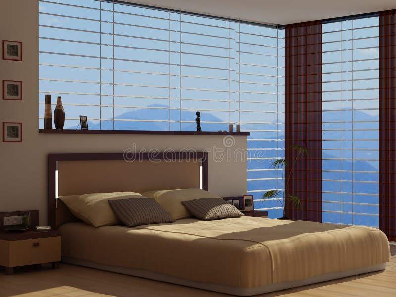 Una camera da letto con una vista royalty illustrazione gratis