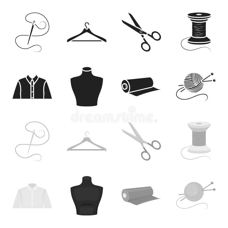 Una camicia dell'uomo, un manichino, un rotolo di tessuto, una palla dei fili e ferri da maglia Icone stabilite della raccolta de illustrazione di stock