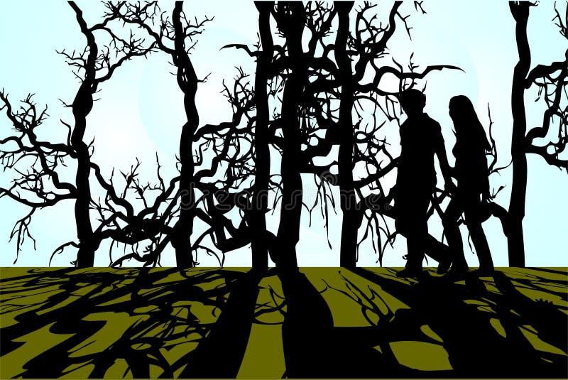 Una caminata en las maderas stock de ilustración